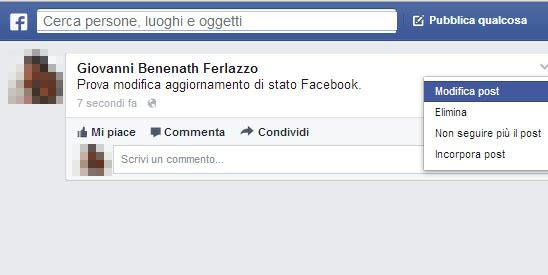 Facebook modifica aggiornamento stato